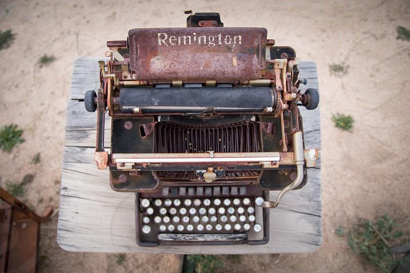 brown and black remington typewriter photo