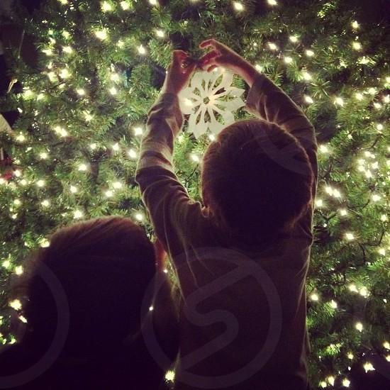 2 boys decorating the christmas tree photo