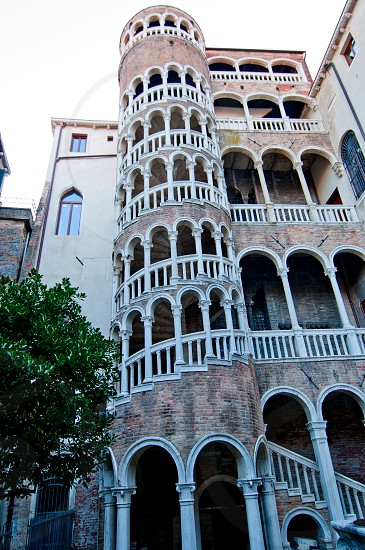 "This Renaissance spiral staircase built around 1499 by Giovanni Candi is an elegant structure that is designed like a ""bovolo"" Venetian dialect for snail photo"