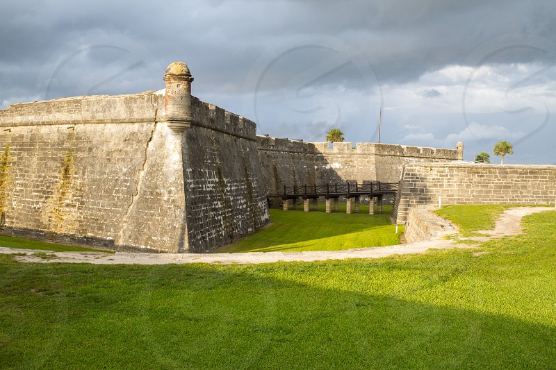 Exterior and grounds of Castillo-de-san-marcos fort in St. Augustine Florida photo
