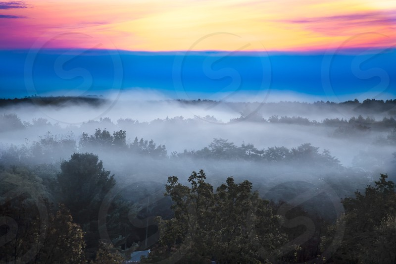 morning sunrise in the mountains photo