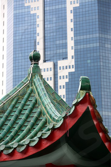 old and new architcture in china town in the city of Singapore in Southeastasia. photo