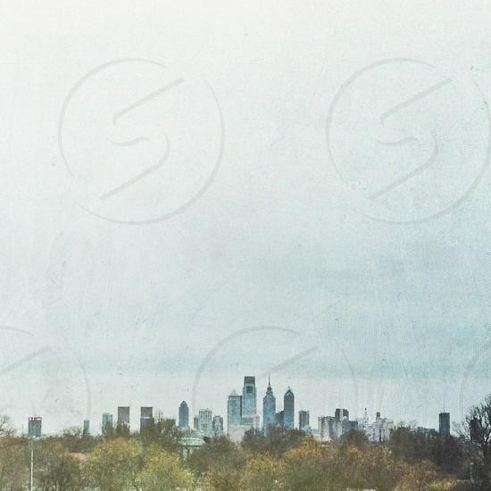 Artistic rendition of the Philadelphia skyline as seen from South Philadelphia. photo