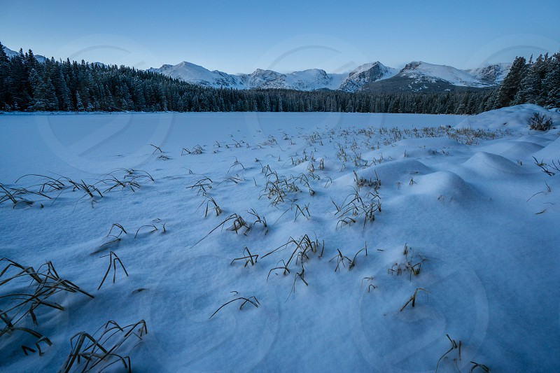 Bierstadt Lake in Winter Early morning in Rocky Mountain National Park.  Estes Park Colorado. photo
