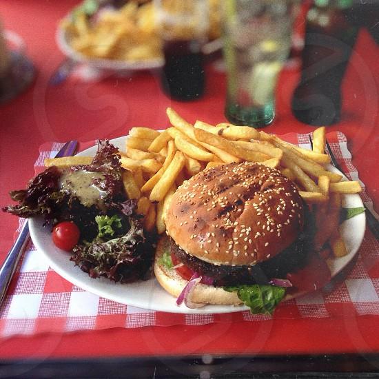 burger fries platter photo