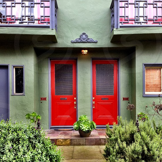 Two red doors on a green house.  photo