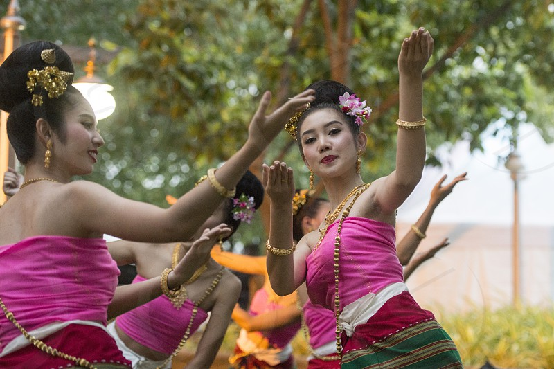 traditional Thai Dance at the Loy Krathong festival at the fort Sumen at the Santichaiparakan park in Banglamphu in the city of Bangkok in Thailand.  Thailand Bangkok November 2017 photo