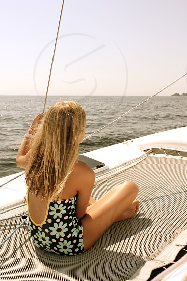 Young Girl on Sailboat photo