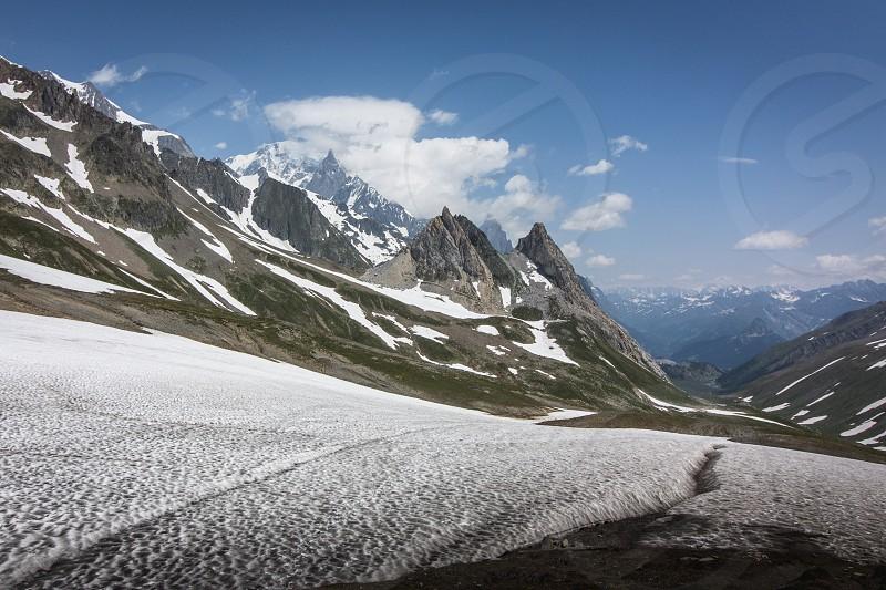 Snowy mountain pass. photo