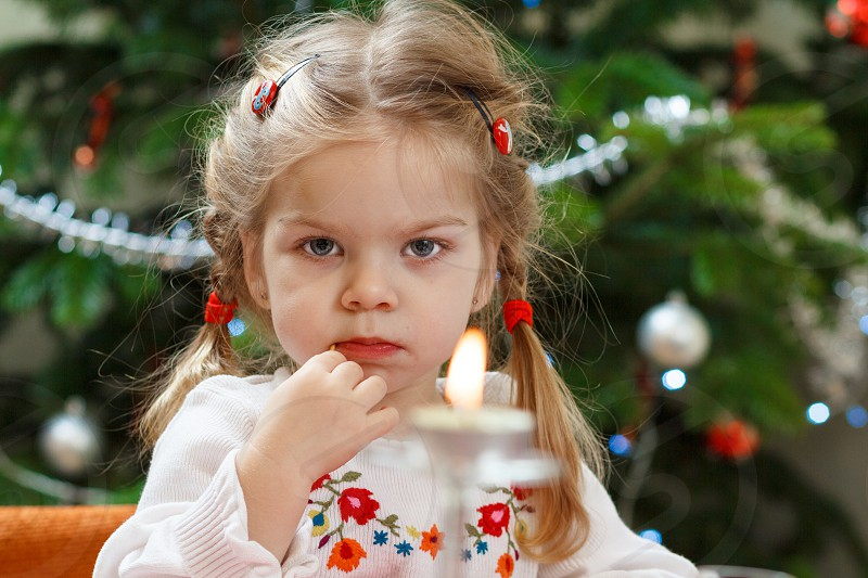 girl eyes dinner fancy  dress table christmas look candle photo