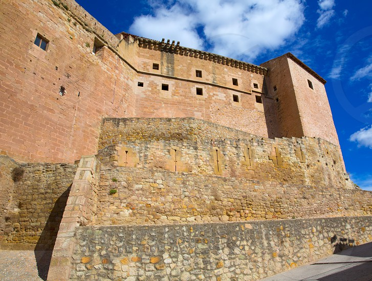 Mora de Rubielos Teruel Muslim Castle in Aragon Spain under blue sunny sky photo