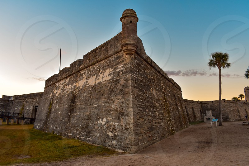 St. Augustine Florida. January 26  2019. Panoramic view of Castillo de San Marcos on lightblue background in Florida's Historic Coast (6) photo