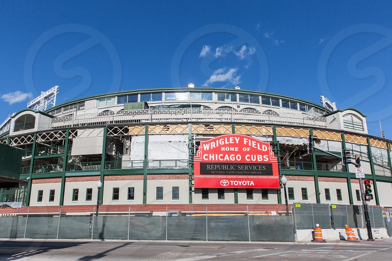 The Wrigleyville neighborhood of Chicago IL. The main entrance to Wrigley Field. photo