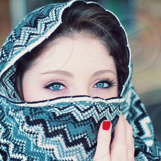 women's blue and white herringbone pattern hijab photo