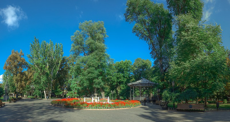 ODESSA UKRAINE - 09.25.2018. Panoramic view of the Odessa City garden Ukraine in a sunny summer morning photo