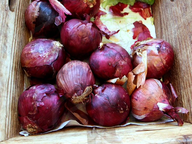 Purple onions in a wooden box photo