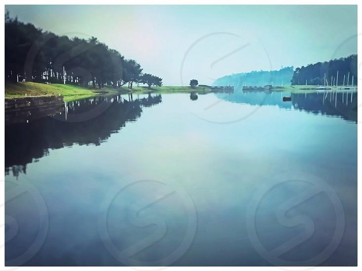 lake and trees photograph photo