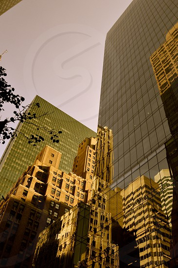 Antiqued New York City reflections photo