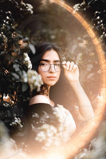 Girl portrait sun sunlight forest photo