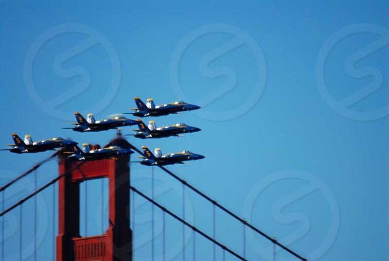jets flying over bridge photo