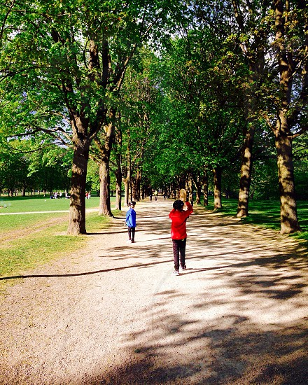 #norway #oslo #frognerparken #sunny #red #blue #tree #path #family #brothers photo