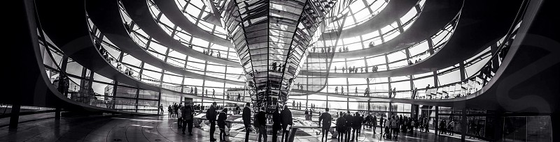 Indoor day horizontal panoramic panorama black and white monochrome atrium glass mirror reflect dome people tourists sightseers light shadow reichstag Berlin Germany deutschland politics parliament political tourism sightseeing travel wanderlust photo