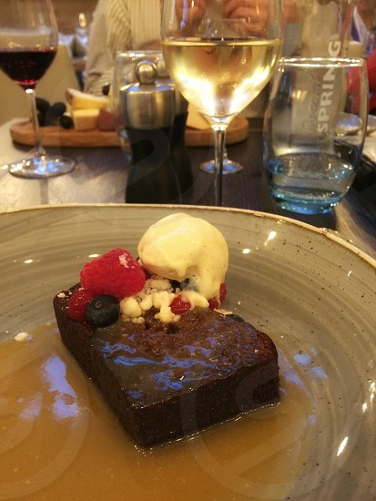 Sticky toffee pudding dessert pudding ice cream sweet tasty delicious  photo