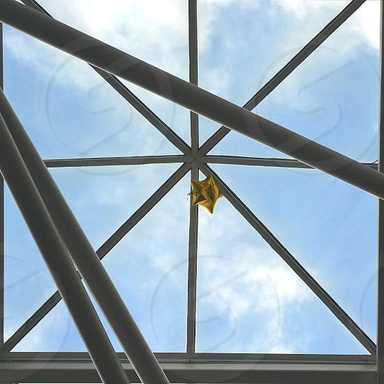 Windows Glass Metal Triangular Triangles Ballon Sky  photo