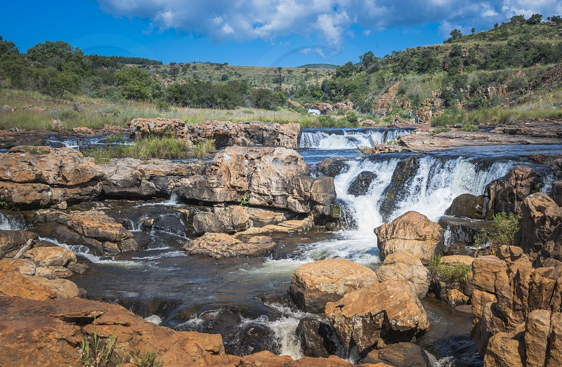 river at the bourkes potholes in south africa near the panoramaroute with big canyon and waterfalls photo