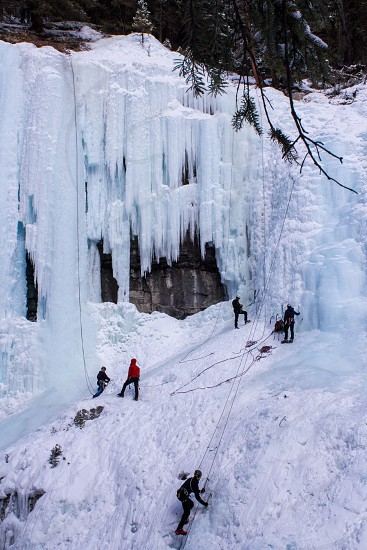 Frozen Waterfall Ice Climbing in Johnston Canyon Banff National Park Alberta photo