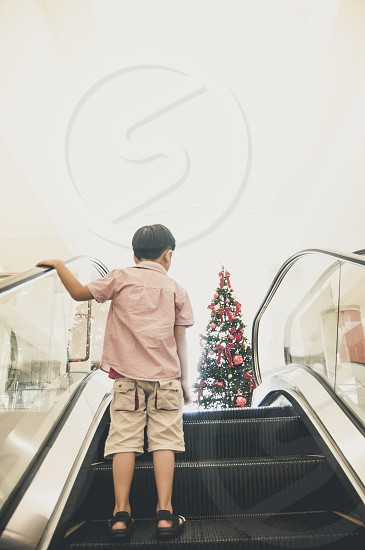young kid escalator looking at Christmas tree holiday season 5 years old boy rear view people indoor vertical copy space photo