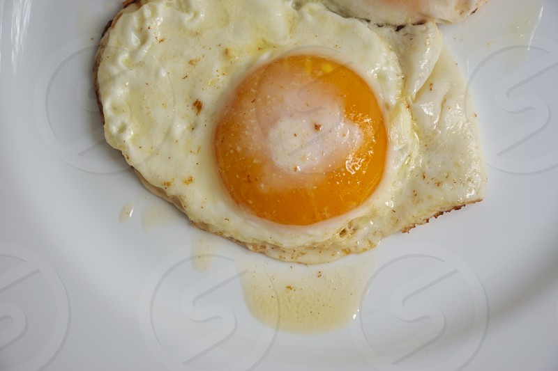 High angle view of the fried eggs on the white plate photo