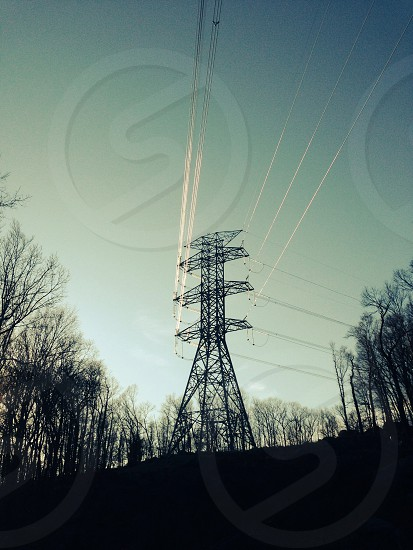 High capacity power lines in the NJ mountain woods photo
