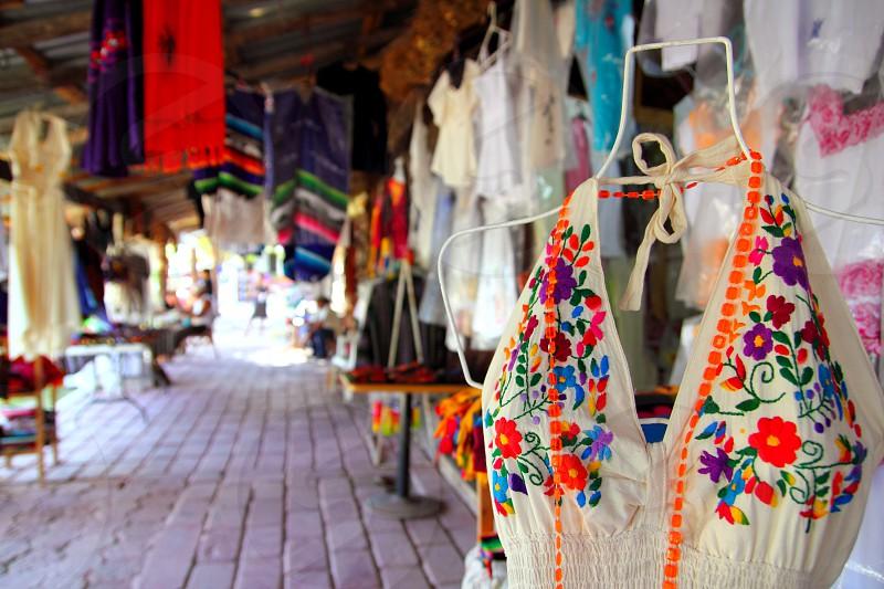 Handcrafts market in Mexico Puerto Morelos village photo