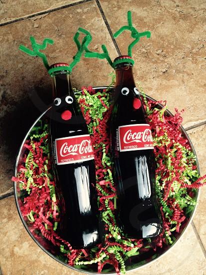 Coca cola reindeer in gift basket photo