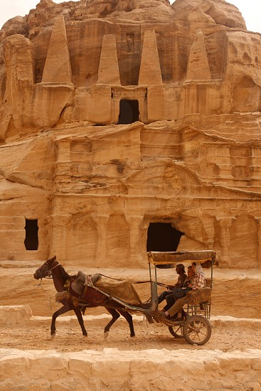 the Bab as Siq street with the Obelisk Tomb and the Bab as Siq Triclinium in the Temple city of Petra in Jordan in the middle east. photo