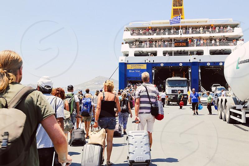Cruise season cruise ship tourists luggage people  photo