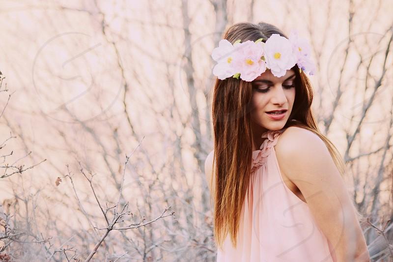 Nature pastels headband flowers pink photo