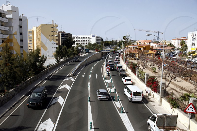 a Road in the town of Maspalomas on the Canary Island of Spain in the Atlantic ocean. photo