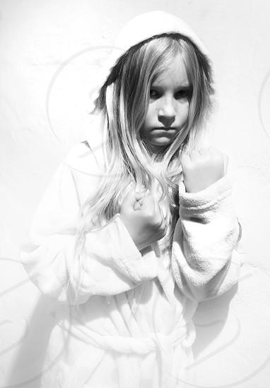 Kid child girl fighter fist long hair b&w bw photo