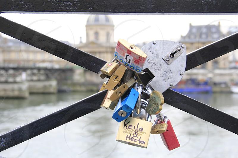 paris love france landscape love lock photo