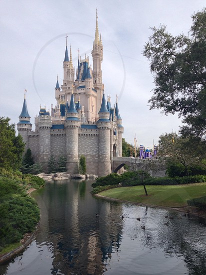 beige and blue castle with river photo