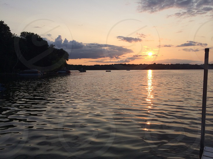 Minnesota summer sunset on the lake photo