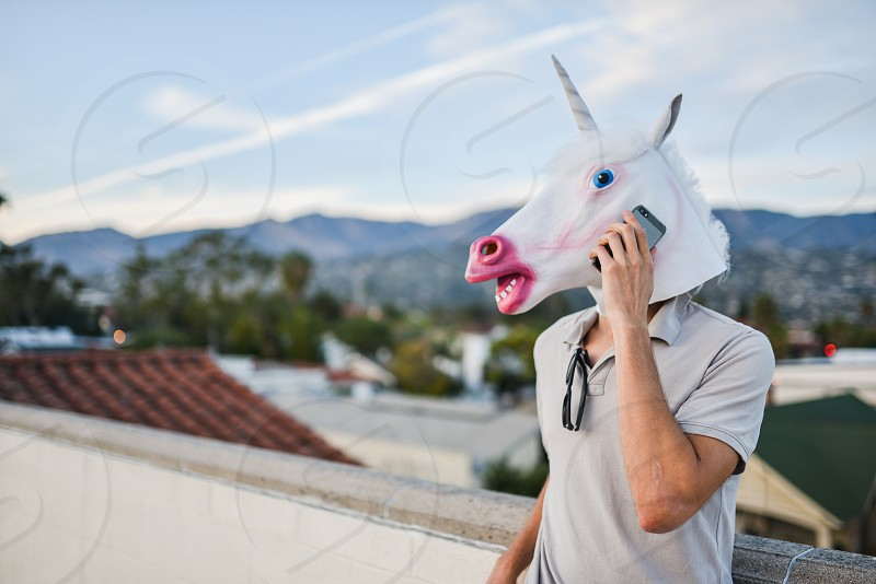 unicorn mask phone photo