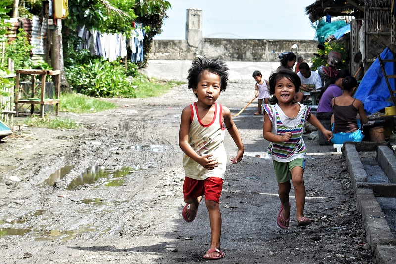 Two children running with full of hopes photo