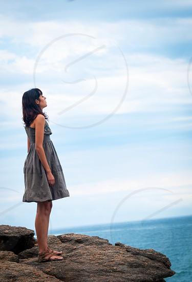 Breathing deep nature woman ocean Sky  photo