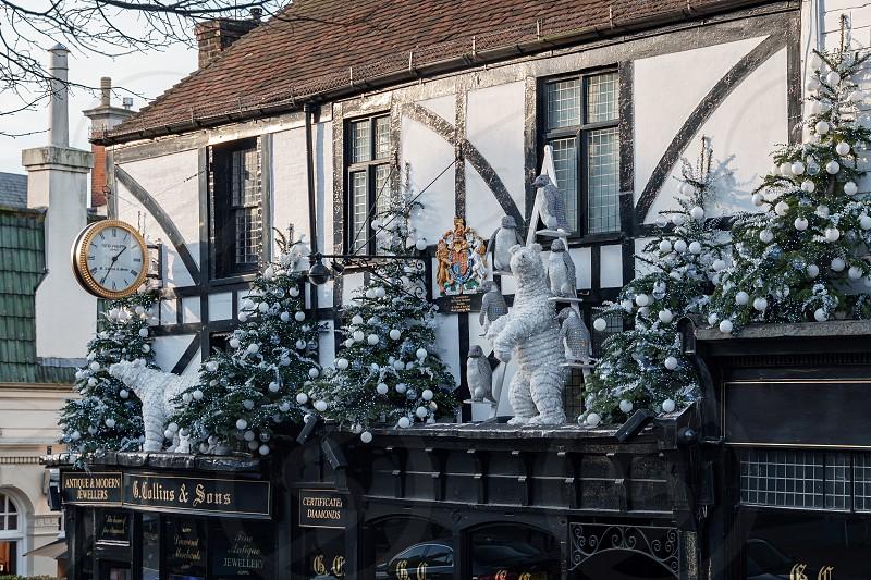 TUNBRIDGE WELLS KENT/UK - JANUARY 4 : Christmas Display in Royal Tunbridge Wells on January 4 2019 photo