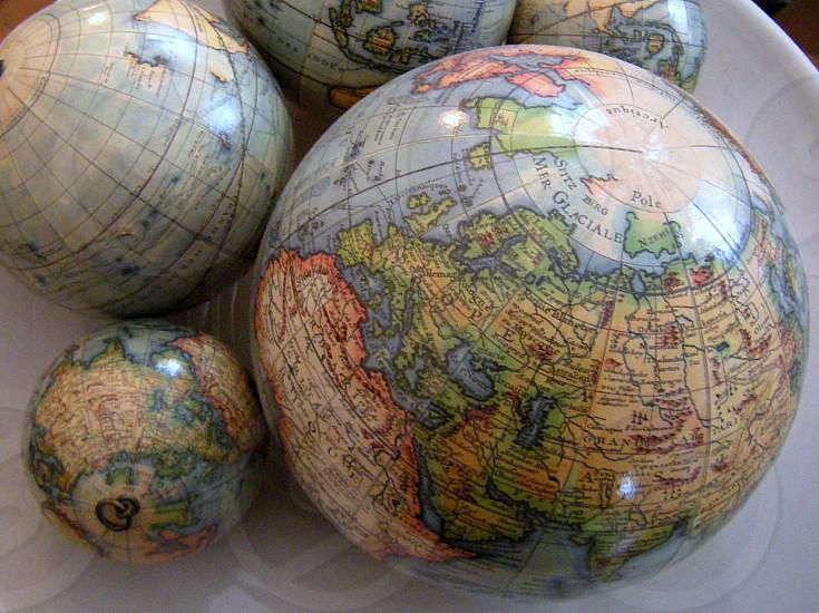 Globes on platter photo