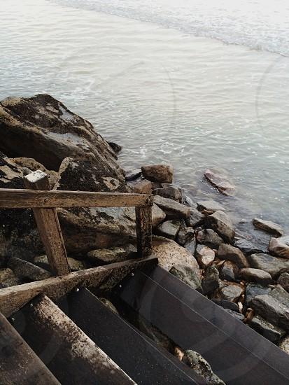 brown wooden ladder photo