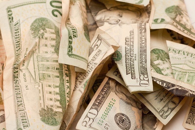 Crumpled american dollar currency bill bank notes close up photo